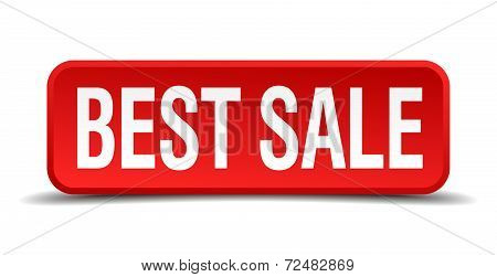 Best Sale Red Three-dimensional Square Button Isolated On White Background