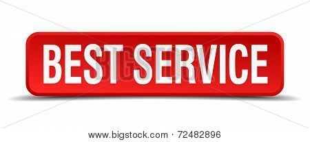 Best Service Red Three-dimensional Square Button Isolated On White Background