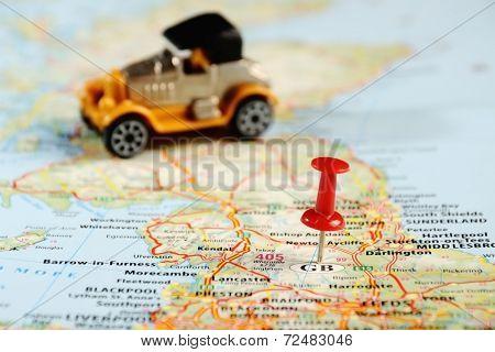 Great Britain  Map Pin Car