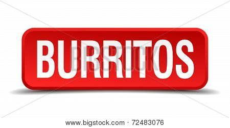 Burritos Red Three-dimensional Square Button Isolated On White Background