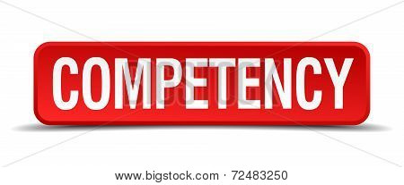 Competency Red Three-dimensional Square Button Isolated On White Background