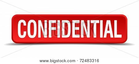 Confidential Red Three-dimensional Square Button Isolated On White Background