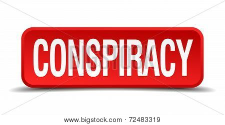 Conspiracy Red Three-dimensional Square Button Isolated On White Background