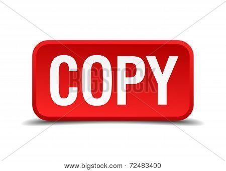 Copy Red Three-dimensional Square Button Isolated On White Background