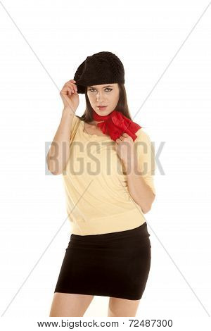 Woman Yellow Shirt Black Hat Red Scarf