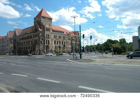 Traffic On Junction In Poznan, Poland