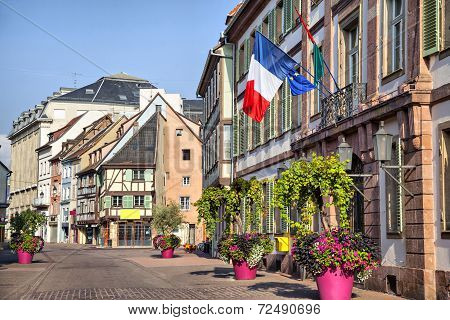French Flag On The Building In Colmar