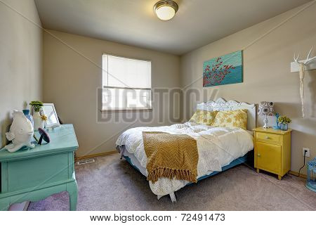 Bedroom With Bright Antique Furniture