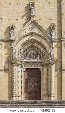 Door Of The Duomo In The Center Of Arezzo