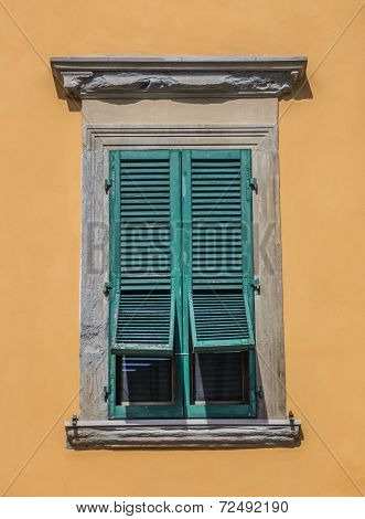 Typical Italian Window With Blinds Half Open