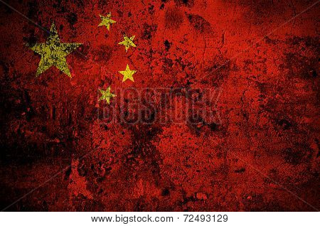 Grunge Flag Of People's Republic Of China With Capital In Beijing