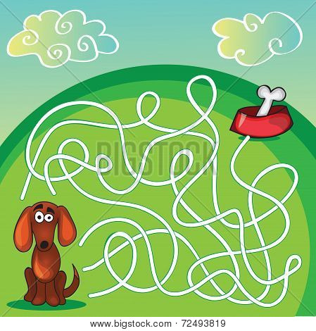 Cute Dog's Maze Game