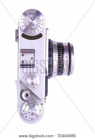 Retro Metal Camera. Isolated On White Background.