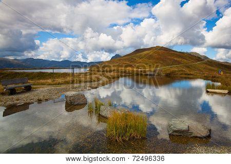 Mountain Road In Autumn Landscape In Tirol Alps
