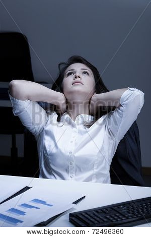 Tired Woman During Overtime