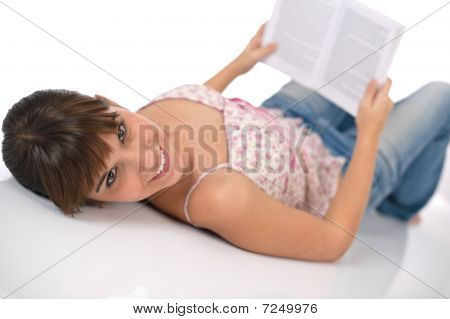 Student - Happy Female Teenager Read Book