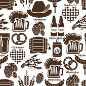 stock photo of keg  - Oktoberfest seamless background pattern in black and white depicting German beer in bottles  can  tankard  glass  keg or cask  barrel  hops  barley  heart  sausage and a pretzel  square format - JPG