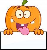 picture of goofy  - Goofy Halloween Pumpkin Cartoon Mascot Character Over A Blank Sign - JPG
