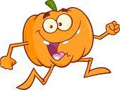 stock photo of goofy  - Goofy Halloween Pumpkin Cartoon Mascot Character Running - JPG