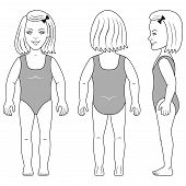 stock photo of one piece swimsuit  - Full length front back side view of a standing girl preschooler in swimsuit - JPG