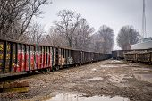 stock photo of caboose  - Bright graffiti pierces the harsh winter of a rural train yard in south central Kentucky - JPG