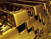 stock photo of safe haven  - Digital 3D Illustration of a Stack of Gold Bullions - JPG