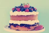 picture of sponge-cake  - Sponge Layer Cake with fresh whipped cream raspberry jelly and raspberries strawberries and blueberries with retro vintage style filter - JPG