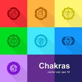 image of kundalini  - set of colorful chakras icons - JPG