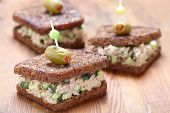 picture of cucumber  - Tuna salad sandwich with pumpernickel bread and cucumber - JPG