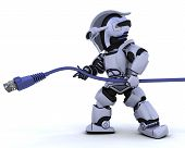 stock photo of cat5  - 3D Render of a robot with RJ45 network cable - JPG