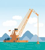 image of dredge  - flat Huge crane barge Industrial ship that digs sand marine dredging digging sea bottom  Vector - JPG