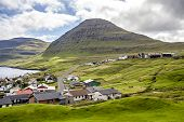pic of faroe islands  - View of part of the city of Klaksvik in the Faroe Islands Denmark in North Atlantic - JPG