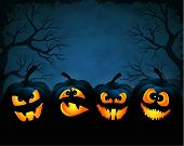 stock photo of halloween  - Vector illustration for Halloween with pumpkins at night - JPG