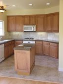 image of residential home  - Empty kitchen in a new home interior - JPG