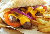 pic of cheese-steak  - Close up of a philly cheese steak sandwich - JPG