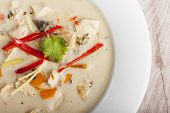 stock photo of gai  - closeup of a tom kha gai soup
