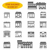 stock photo of grocery store  - Store shop front window buildings black icon set isolated vector illustration - JPG
