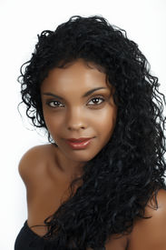 image of african american woman  - Beautiful African woman with long natural curly hair and natural make - JPG
