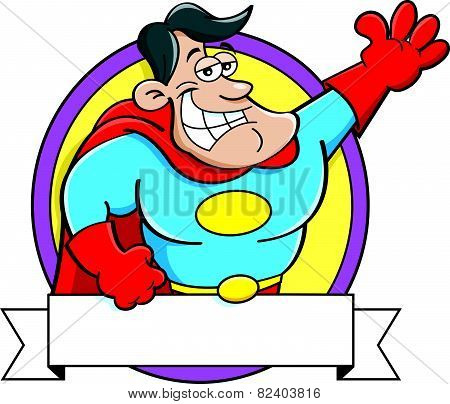 Cartoon super hero with a banner.