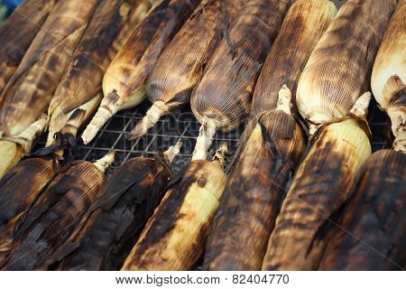 Corn Is Grilled On The Furnace At The Market