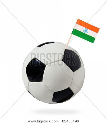 Soccer ball with flag India isolated on white background