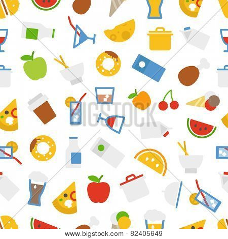 Food icons seamless background. Flat design elements