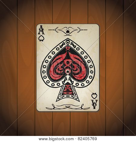 Ace Of Spades, Poker Cards Old Look Varnished Wood Background