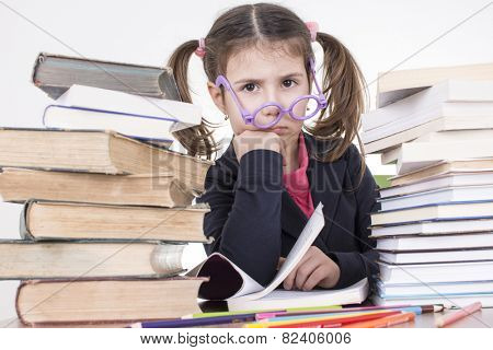 worried little student