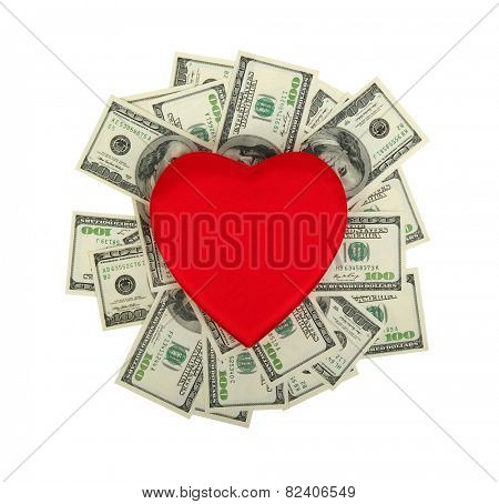 red heart and dolar .concept - the love of money