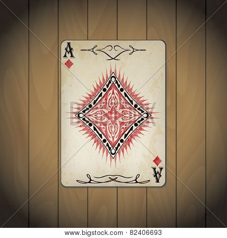 Ace Of Diamonds, Poker Cards Old Look Varnished Wood Background