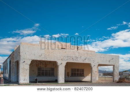 old abandoned desert gas station