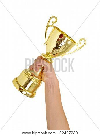 Man holding a champion golden trophy on white background