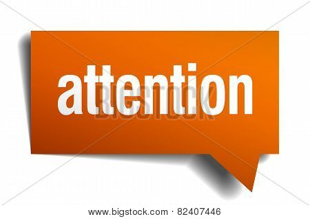 Attention Orange Speech Bubble Isolated On White