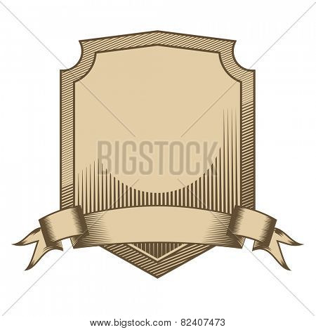 Vintage engraved shield with scroll vector. Shield with scroll, vintage engraved style in two colors, global color swatches for easy editing